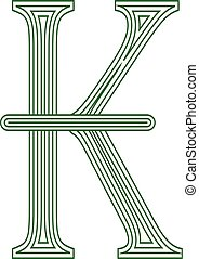 Kip Laos symbol icon striped vector illustration on a white...