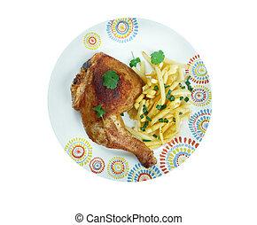Kip met frieten - traditional dish in Belgium fried chicken...
