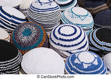 Kipah - Traditional Jewish Head-wear on the Counter for Sale...
