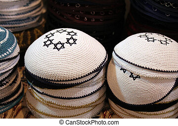 Kippah - Yarmulke. Selective focus - A kippah or yarmulke...