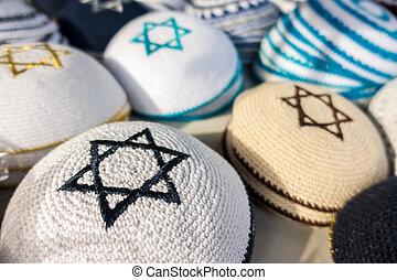 Kippahs - Different colors of yarmulkes on Israeli market....