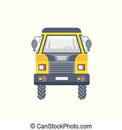 kipper truck illustration front view in flat style