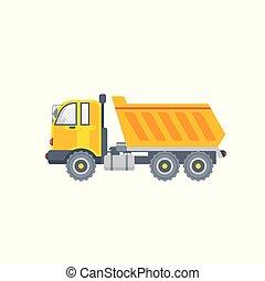 kipper truck illustration side view in flat style