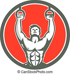 Kipping Muscle Up Cross-fit Circle Retro - Illustration of a...
