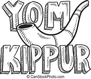kippur, yom, feriado, judeu, esboço