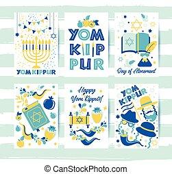 kippur, yom, tarjetas, velas, judío, symbols., fondo., ...
