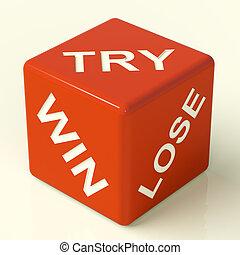 kipróbál, győz, késik, piros, dobókocka, kiállítás,...