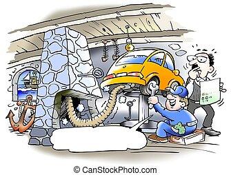 kipufogócső, öreg, ventiláció, kémény, használt, műhely