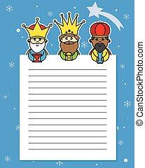 király, három, levél