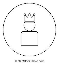 király, szín, fejtető, black körbejár, kerek, ikon