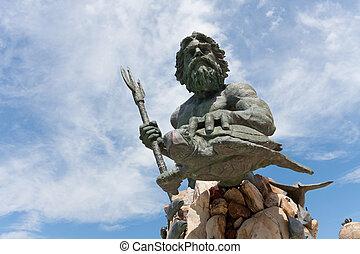 király, tengerpart, neptun-bolygó, szobor, virginia