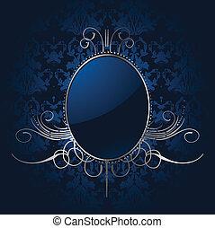 királyi blue, háttér, noha, ezüst, frame., vektor