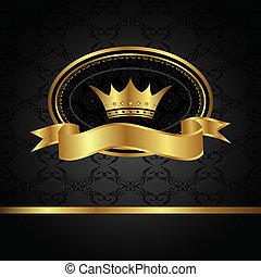 királyi, háttér, noha, arany-, keret