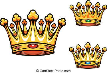 királyi, király, fejtető