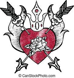 királyi, szív, embléma, tervezés