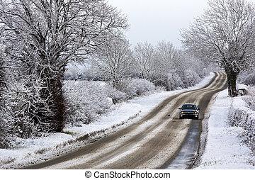 királyság, egyesült, tél, hó