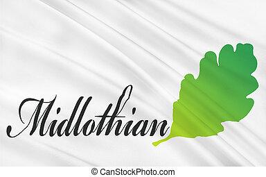 királyság, nagy, egyesült, skócia, britain, lobogó, tanács, midlothian