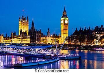 királyság, parlament, ben, épület, egyesült, nagy, éjszaka, london