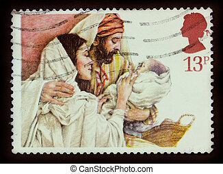 királyság, postaköltség, mária, egyesült, bélyeg, -, 1984, 1984:, józsef, jézus, nyomtatott, csecsemő, cirka, karácsony, látszik