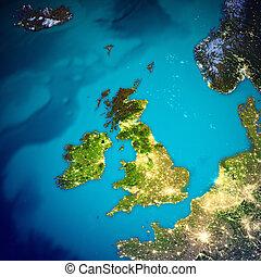 királyság, térkép, egyesült, írország