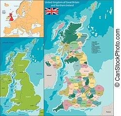 királyság, térkép, egyesült