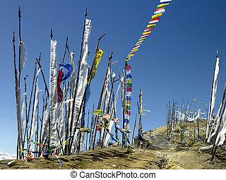 királyság, zászlók, -, bhutan, könyörgés