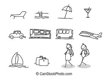 kirándulás, utazás, &, ünnepek
