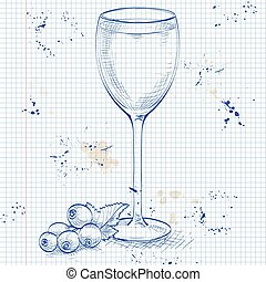 Kir alcohol cocktail on a notebook page