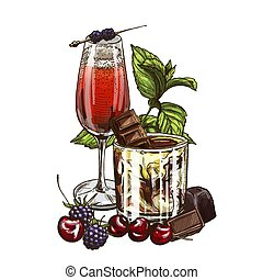 Kir Royale and White Russian cocktails, vector illustration, hand drawn sketch; colored