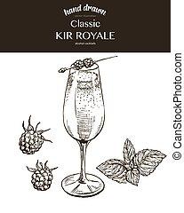 Kir Royale. Vector sketch illustration of cocktails. Hand drawn.
