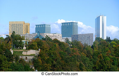 kirchberg, -, ville bâtiments, institutions, européen, luxembourg