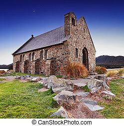 kirche, von, der, guter schäferhund, neuseeland