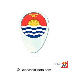 Kiribati flag location map pin icon on white background.