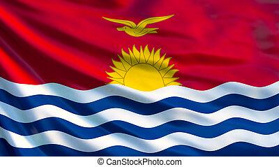 Kiribati flag. Waving flag of Kiribati 3d illustration