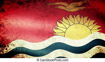 Kiribati Flag Waving, grunge look