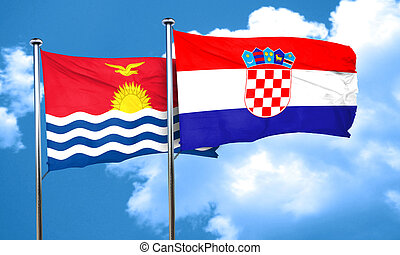Kiribati flag with Croatia flag, 3D rendering
