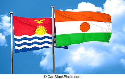 Kiribati flag with Niger flag, 3D rendering