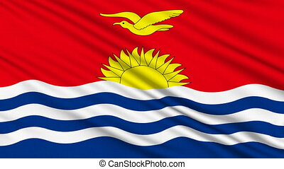 Kiribati Flag, with real structure of a fabric