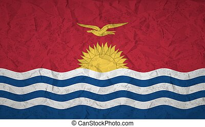 Kiribati flag with the effect of crumpled paper and grunge