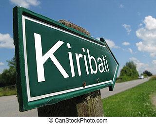 Kiribati signpost along a rural road