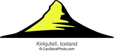 Kirkjufell, Iceland, landmark flat icon design