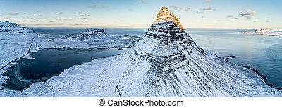Kirkjufell mountain in winter, Iceland