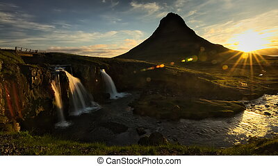 kirkjufellsfoss, wasserfall, während, sunrise.