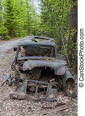 Kirkoe Mosse Bilkyrkogard Blue Wrecked Car