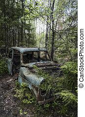 Kirkoe Mosse Bilkyrkogard Broken Blue Car