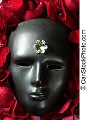 kirmes, rose, maske, blütenblätter , schwarz rot