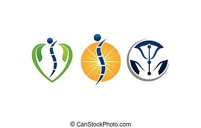 kiropraktik, acupuncture, skabelon, sæt