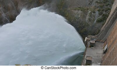 Kirov reservoir dam. (Built 1965 - 1975). Valley Talas,...