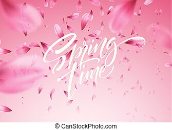 kirsch blüte, blütenblatt, abbildung, fruehjahr, vektor, hintergrund, zeit, lettering.
