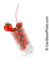 kirsch tomaten, in, glas, mit, trinkhalm